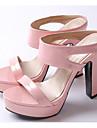 בגדי ריקוד נשים נעלי נוחות PU קיץ סנדלים עקב עבה כסף / ירוק / ורוד