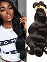 3 Bundler Peruviansk hår Krop Bølge 8A Menneskehår Menneskehår, Bølget Bundle Hair Én Pack Solution 8-28 inch Naturlig Naturlig Farve Menneskehår Vævninger Blød Silkeagtig Ekstention Menneskehår