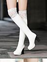 Dam Fashion Boots Mocka / Svinläder Höst Stövlar Stilettklack Stängd tå Over-knee-stövlar Vit / Svart