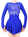 Figure Skating Dress Women\'s Girls\' Ice Skating Dress Royal Blue Spandex Stretch Yarn High Elasticity Professional Competition Skating Wear Handmade Fashion Long Sleeve Ice Skating Winter Sports