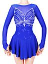 Robe de Patinage Artistique Femme Fille Patinage Robes Bleu royal Spandex Fil elastique Haute elasticite Professionnel Competition Tenue de Patinage Fait a la main Mode Manches Longues Patinage sur