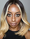 Remy-hius Lace Front Peruukki Keskiosa Ciara tyyli Brasilialainen Laineita Ombre Peruukki 150% Hiusten tiheys 12 inch Liukuvärjätyt hiukset Pre-Plucked Valkaistut solmut Ombre Naisten Lyhyt