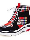 Γυναικεία Σατέν Φθινόπωρο & Χειμώνας Καθημερινό / Κολεγιακό Αθλητικά Παπούτσια Περπάτημα Τακούνι Σφήνα Στρογγυλή Μύτη Μαύρο / Μπεζ / Συνδυασμός Χρωμάτων