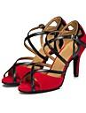 בגדי ריקוד נשים נעליים לטיניות סוויד סנדלים עקב קובני מותאם אישית נעלי ריקוד שחור / אדום