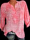 Mulheres Tamanhos Grandes Camisa Social Estampado, Geometrica Colarinho de Camisa Verde XXXL / Primavera / Verao / Outono / Inverno
