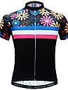 JESOCYCLING Women\'s Short Sleeve Cycling Jersey - Black Floral / Botanical Bike Jersey Top Quick Dry Sports 100% Polyester Mountain Bike MTB Road Bike Cycling Clothing Apparel / Stretchy