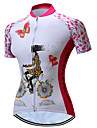TELEYI Dames Korte mouw Wielrenshirt - Roze Flora / Botanisch Fietsen Shirt Ademend Sneldrogend Sport Polyester Bergracen Wegwielrennen Kleding / Rekbaar / SBS ritsen