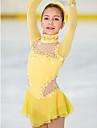 Figure Skating Dress Women\'s Girls\' Ice Skating Dress Daffodil Spandex High Elasticity Competition Skating Wear Handmade Jeweled Rhinestone Long Sleeve Ice Skating Figure Skating