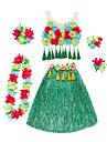 ستايل هاواي حولا راقص ازياء هاواي تنورة العشب للبالغين نسائي خمر مستوحاة كريسماس عيد الميلاد Halloween مهرجان عطلة / عيد الكتان / القطن مزيج نايلون أخضر / أزرق / زهري كرنفال ازياء ورد