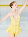 Платье для фигурного катания Жен. Девочки Катание на коньках Платья Желтый Открытая спина Спандекс Эластичная пряжа Эластичность Профессиональный стиль Соревнование Одежда для фигурного катания