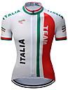 TELEYI Homens Manga Curta Camisa para Ciclismo Vermelho e Branco Italy Bandeiras Moto Camisa / Roupas Para Esporte Blusas Pavio Humido Secagem Rapida Esportes Poliester Ciclismo de Montanha Ciclismo