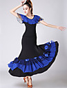 Ballroom Dance Outfits Women\'s Training / Performance Polyester / Spandex Ruching / Tiered Short Sleeve Natural Skirts / Top