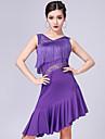 Latein-Tanz Kleider Damen Leistung Milchfieber Spitze / Quaste AErmellos Kleid