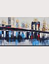 Hang-ζωγραφισμένα ελαιογραφία Ζωγραφισμένα στο χέρι - Αφηρημένο Τοπίο Μοντέρνα Χωρίς Εσωτερικό Πλαίσιο