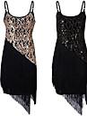 Nagy Gatsby Flapper ruha Női Bojt 1920-as Gatsby Roaring 20s Mindszentek napja Farsang Fesztivál / ünnepek Terylene Fekete / Aranyozott Farsangi jelmezek Egyszínű