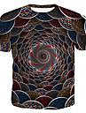 Rund hals Herre - Geometrisk / 3D / Grafisk Bomuld, Trykt mønster T-shirt Regnbue XL
