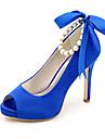 Γυναικεία Σατέν Ανοιξη καλοκαίρι Μινιμαλισμός Γαμήλια παπούτσια Τακούνι Στιλέτο Ανοικτή μύτη Πέρλες / Κορδέλα Ροζ / Ανοικτό Καφέ / Κρύσταλλο / Γάμου / Πάρτι & Βραδινή Έξοδος