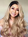 Synthetische Lace Front Peruecken Grosse Wellen Kardashian Stil Stufenhaarschnitt Spitzenfront Peruecke Gold Schwarz und Gold Synthetische Haare 24 Zoll Damen Damen Gold Peruecke Lang Sylvia 130% Human