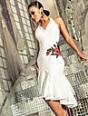 Latein-Tanz Kleider Damen Leistung Elasthan Stickerei / Horizontal geruescht AErmellos Kleid