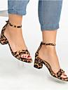 Mulheres Couro Sintetico Verao Casual Sandalias Salto Robusto Dedo Aberto Amarelo / Vermelho / Leopardo