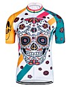 Men\'s Short Sleeve Cycling Jersey - White Cartoon Skull Bike Jersey Top Quick Dry Reflective Strips Back Pocket Sports Elastane Tulle Polyster Mountain Bike MTB Road Bike Cycling Clothing Apparel