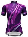 TELEYI Γυναικεία Κοντομάνικο Φανέλα ποδηλασίας - Βυσσινί Ποδήλατο Αθλητική μπλούζα Μπολύζες Γρήγορο Στέγνωμα Αθλητισμός Τερυλίνη Ποδηλασία Βουνού Ποδηλασία Δρόμου Ρούχα / Μικροελαστικό