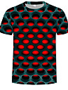 Miesten Pyöreä kaula-aukko Painettu Color Block / 3D Katutyyli / Liioiteltu T-paita Purppura US42 / Lyhythihainen