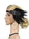The Great Gatsby Vintage 1920s Costume Women\'s Flapper Headband Head Jewelry Black Vintage Cosplay Sleeveless / Feather