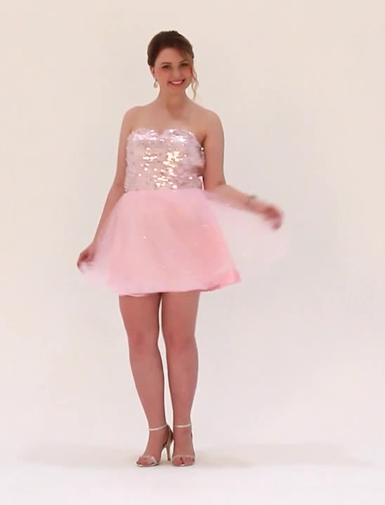 A-Line Fit & Flare Sweetheart Short / Mini Tulle Sequined Cocktail ...