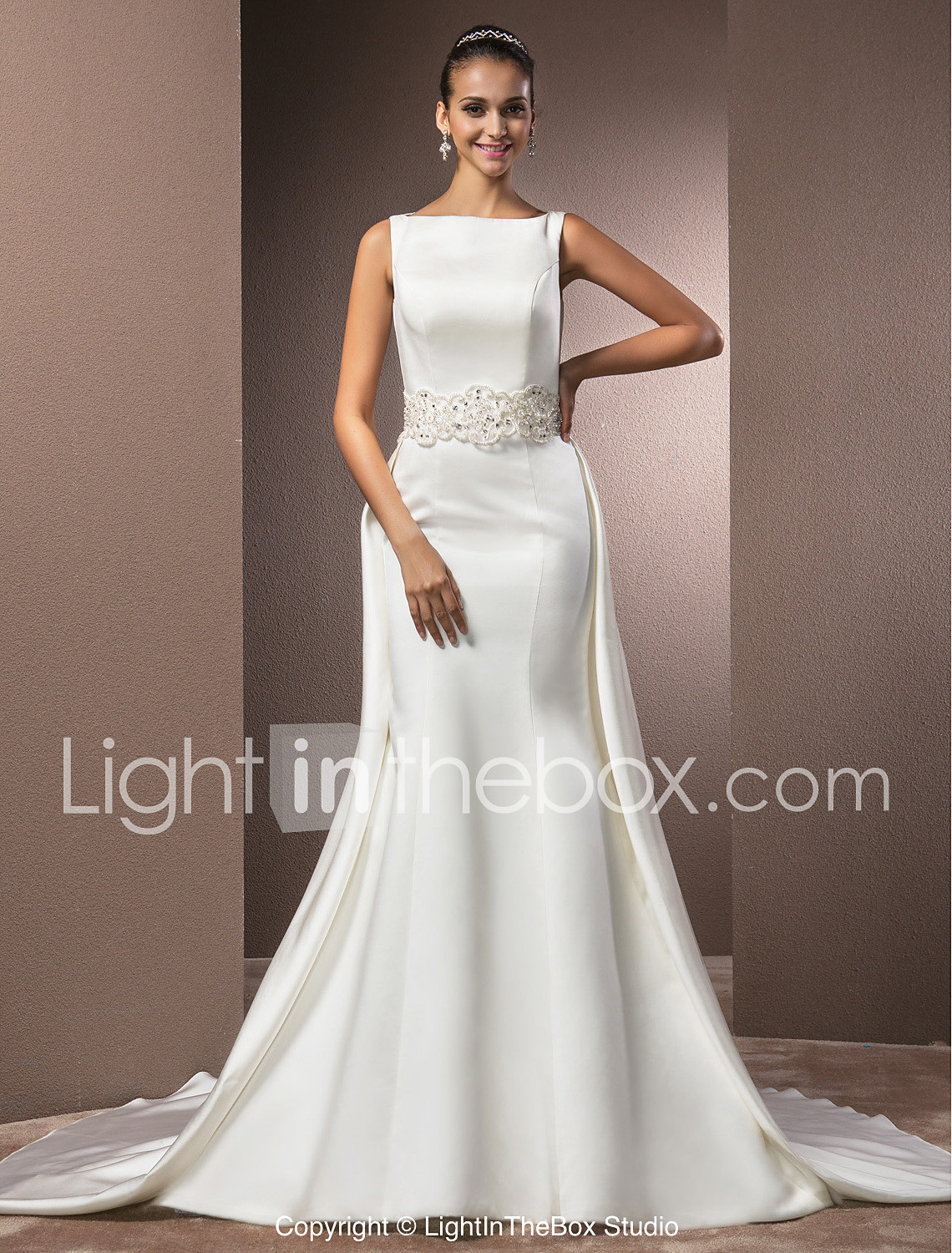 Mermaid Trumpet Bateau Neck Cathedral Train Satin Made To Measure Wedding Dresses With