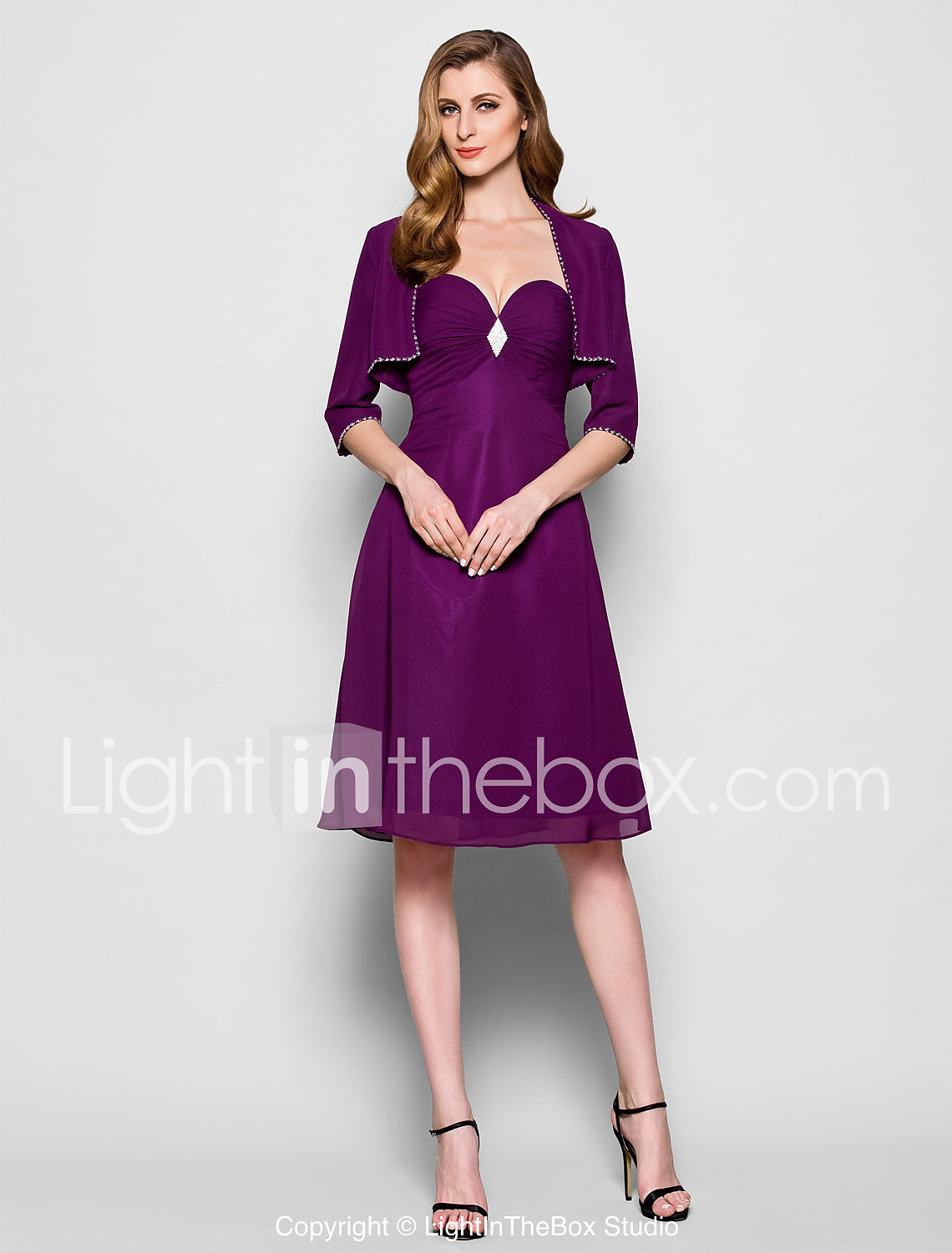 A-Line Sweetheart Neckline Knee Length Chiffon Mother of the Bride ...