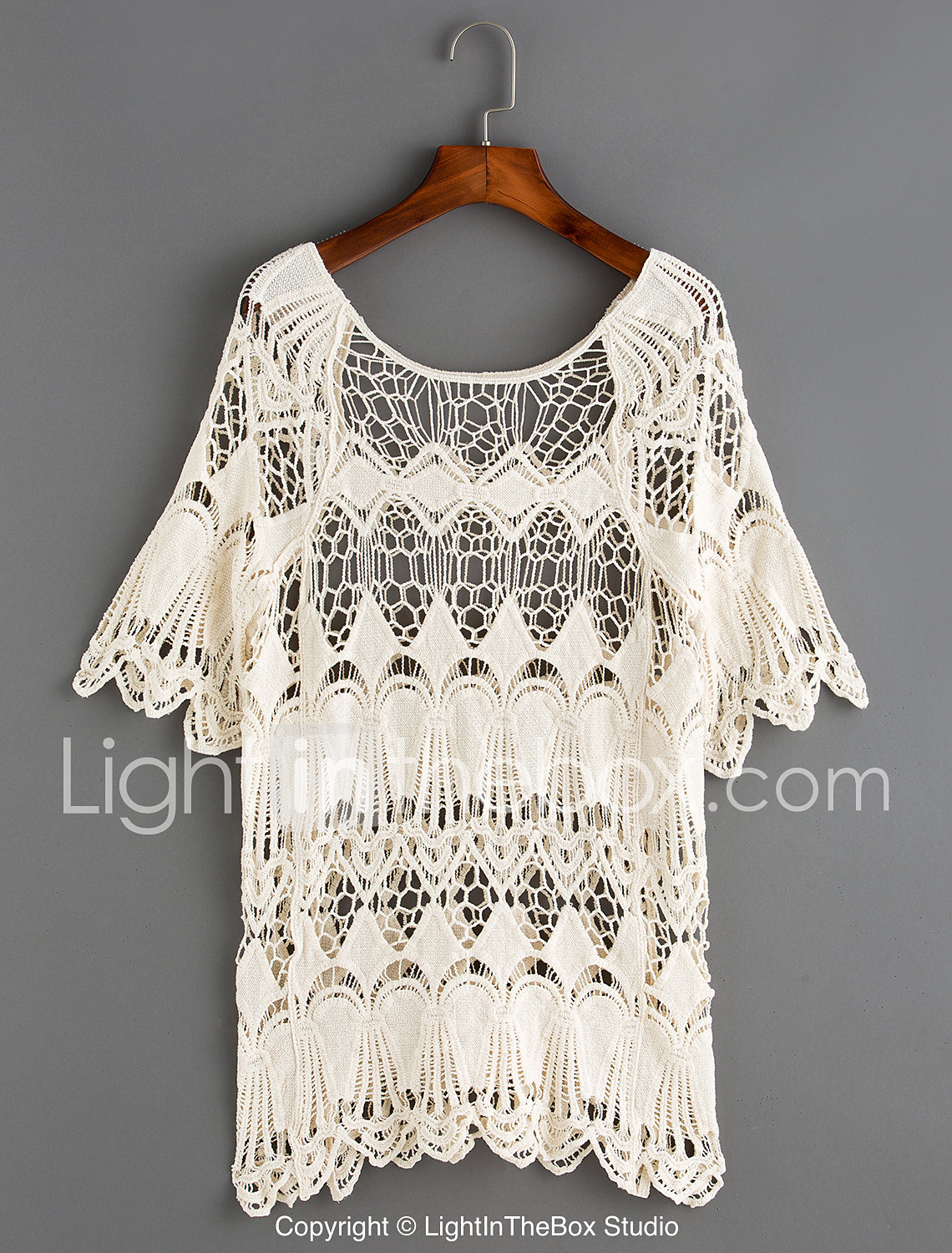 6a2e12177c1913 Women's Boho Beige Cover-Up Swimwear - Solid Colored Lace, Cotton One-Size