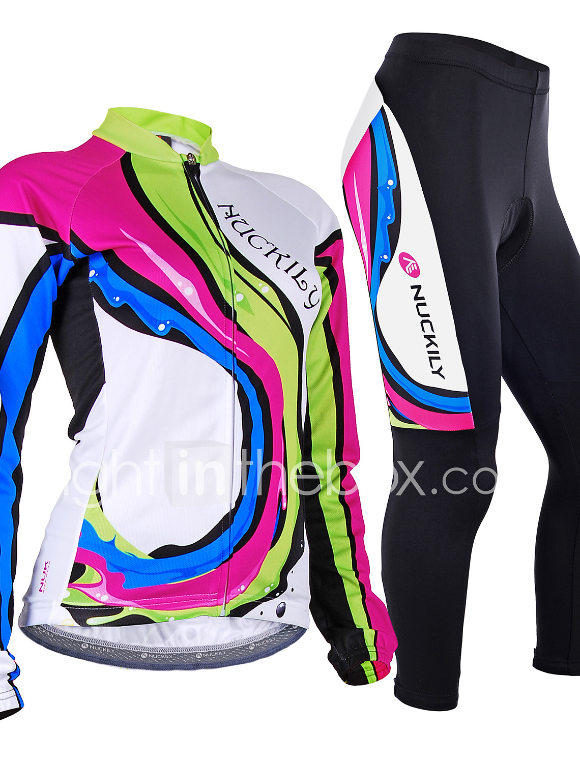Nuckily Women s Long Sleeve Cycling Jersey with Tights - Camouflage Rainbow  Bike Jersey Clothing Suit Windproof a88dbbd0e
