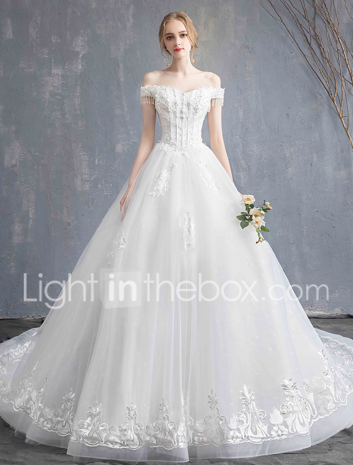 f0f46f4683 Ball Gown Off Shoulder Chapel Train Lace / Tulle Made-To-Measure Wedding  Dresses with Beading / Appliques by LAN TING Express 7208228 2019 – $149.99