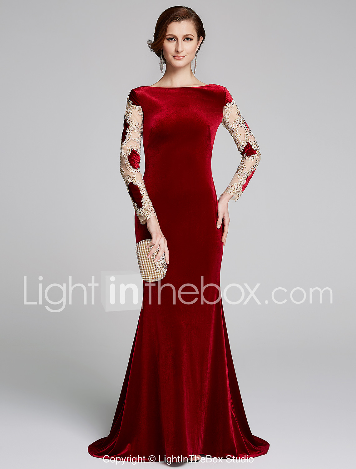 94409bd1e799 Mermaid / Trumpet Bateau Neck Sweep / Brush Train Velvet Mother of the  Bride Dress with Appliques by LAN TING BRIDE® 6993512 2019 – $125.99